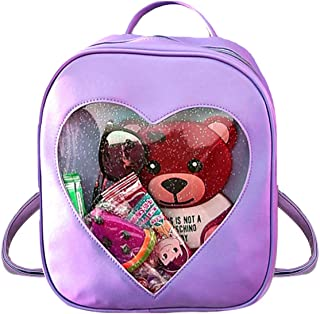 Clear Candy Ita Bag Transparent Love Heart Backpack Casual Cute Backpacks for Women(Purple)