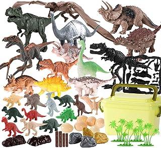 yeesport 46PCS Dinosaur Toy Set Educational Realistic Plastic Mini Dinosaur Figurine Toy for Kids Educational Realistic Di...