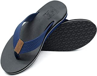 Men's Yoga Mat Leather Flip Flops Thong Sandals with Arch Support