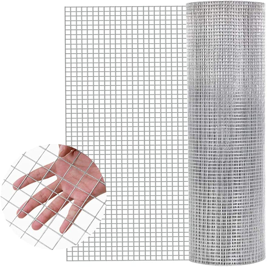 48'' x 50' Hardware Cloth 1 inch Openings 17Gauge Multipurpose Galvanized Welded Wire Fence Animal Enclosure Mesh Net for Flowerbed Vegetables Garden Poultry Cage Rabbit Chicken Coop Easy to Cut