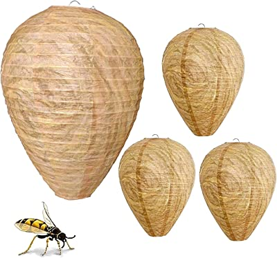 Wasp Nest Decoy Hanging Fake Wasp Nest Decoy Paper Wasp, Deterrent Simulated Bee Hornets Nest for Home and Garden Outdoors, Natural and Safe Non-Toxic (Warm Brown)