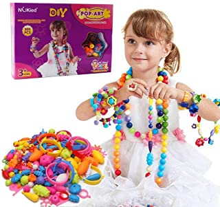 WISHTIME Snap Pops Beads Girls Toy - 300 Pieces DIY Jewelry Toys Gifts Bracelet Necklace Making Kit Arts Crafts Toys for 3, 4, 5, 6, 7 ,8 Year Old Kids Girls