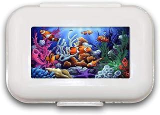 Sunok Fish In The Sea Pill Box Pill Case Pill Organizer Decoratieve Dozen Pill Box voor Pocket of Purse - 8 Compartiment P...