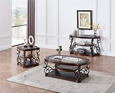 DANGRUUT Luxurious Glass Top Coffee Table for Living Room, Cocktail Table, End Table Center Table with Storage Shelf, Wood w/