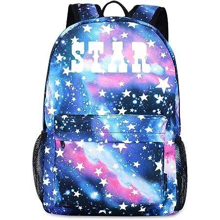 FANDARE Schulrucksack Galaxy Leuchtend Schultasche Junge Mädchen Rucksäcke Schulranzen mit USB Teenager Backpack Tagesrucksack Reise Daypacks Damen Herren Kinderrucksäcke Polyester Blau A