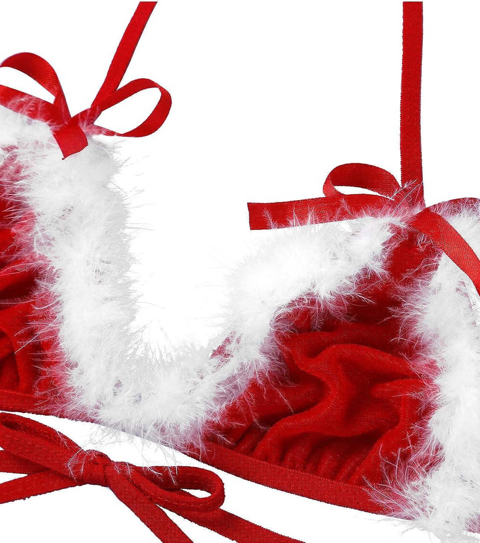 TiaoBug Ropa Interior de Navidad Fiesta Mujer Lencer/ía Er/ótica Conjunto con Gorro Bikini Tanga Slip Atractiva Mujer Ropa de Dormir