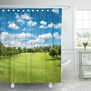 Abaysto Course Green Golf Field and Blue Cloudy Sky European Polyester Fabric Shower Curtain Sets with Hooks Waterproof Mildew Bathroom Decor