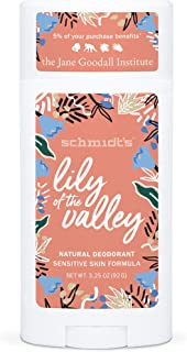 Schmidt's Aluminum Free Natural Deodorant for Women and Men, Lily of the Valley for Sensitive Skin with 24 Hour Odor Prote...