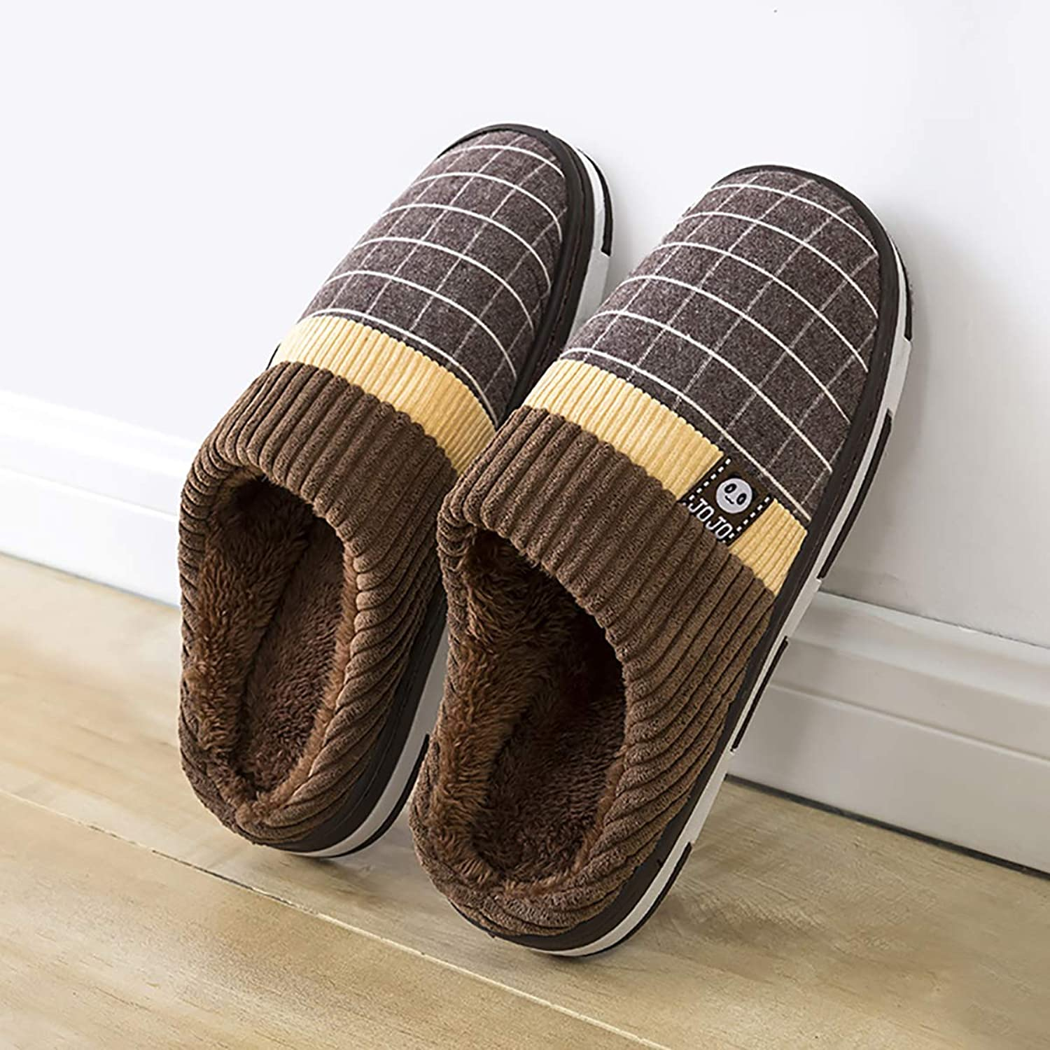 Coral Velvet Slippers Indoor Non-Slip Warm Cotton shoes Half-Pack Heel with Plaid Home shoes for Men and Women,Brown,280