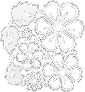 Dzmuero Scrapbooking Dies,8 pièces Fleur métal coupe matrices ensemble feuilles fleur découpes pour la fabrication de cart...