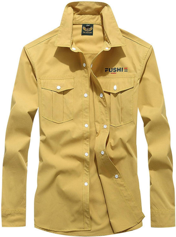 Men's Solid Color Lapel Cargo Fashion Sti Trend Store Shirt Simplicity Miami Mall
