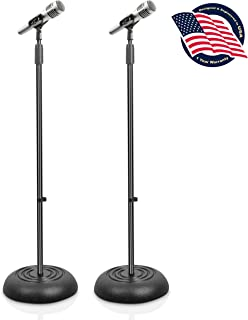 Universal Compact Base Microphone Stand - 2.8 to 5 Ft Height Adjustable Heavy Duty Lightweight Studio Floor Standing Mic Holder w/Standard 5/8