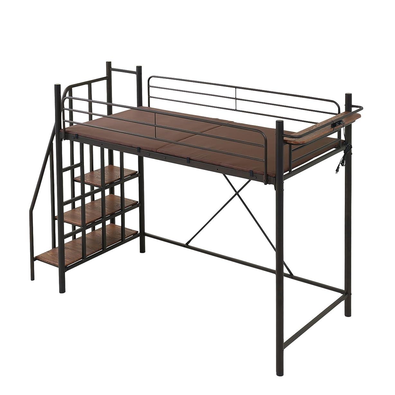 養う有名な哲学モダンデコ ロフトベッド 2段ベッド 階段付き ベッド Linie(ブラックシングル)