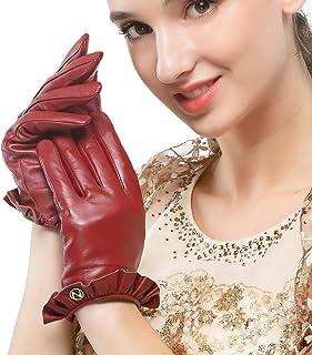 Nappaglo donne sono veri guanti in pelle nappa touchscreen inverno caldo guanti da guida con polso arco decorativo