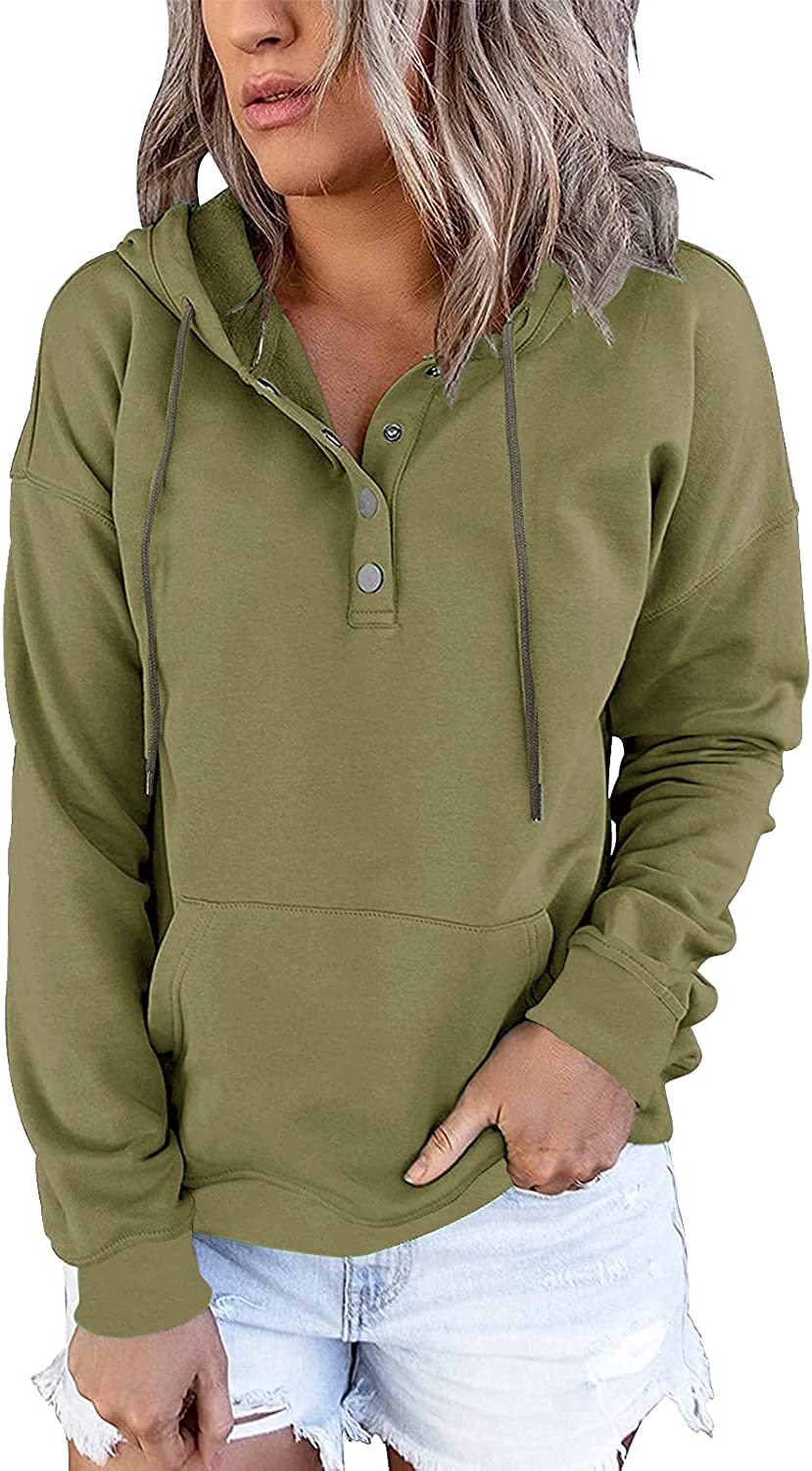 Women Hoodies Long Sleeve Pullover Botton Up Tunic Tops Casual Drawstring Lightweight Sweatshirts With Pockets