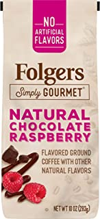 Folgers Simply Gourmet Flavored Ground Coffee with Other Natural Flavors, Chocolate Raspberry, 10 Ounce, Packaging May Vary