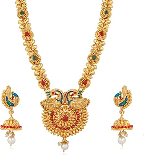 Gold Plated Mango Design Traditional Long Haram Mala Necklace Set For Women