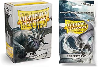 Dragon Shield Bundle: Matte Mist 100 Count Standard Size Deck Protector Sleeves + 100 Count Clear Inner Card Sleeves
