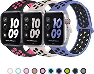 JuQBanke Sport Bands 3 Pack Compatible for Apple Watch Band 38mm 40mm 42mm 44mm, Soft Silicone Sport Replacement Wristband Compatible with iWatch Series 1/2/3/4/5