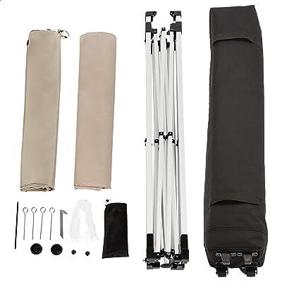 Amazon Basics - Tienda montable resistente con 3 paneles laterales y un bolso de transporte con ruedas, 3 x 3m, beige