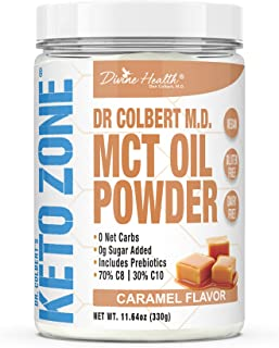 Dr. Colbert's Keto Zone® MCT Oil Powder | Caramel Flavor | 70 % C8 | 30% C10 | All Natural Keto Approved for Ketosis | 0 N...
