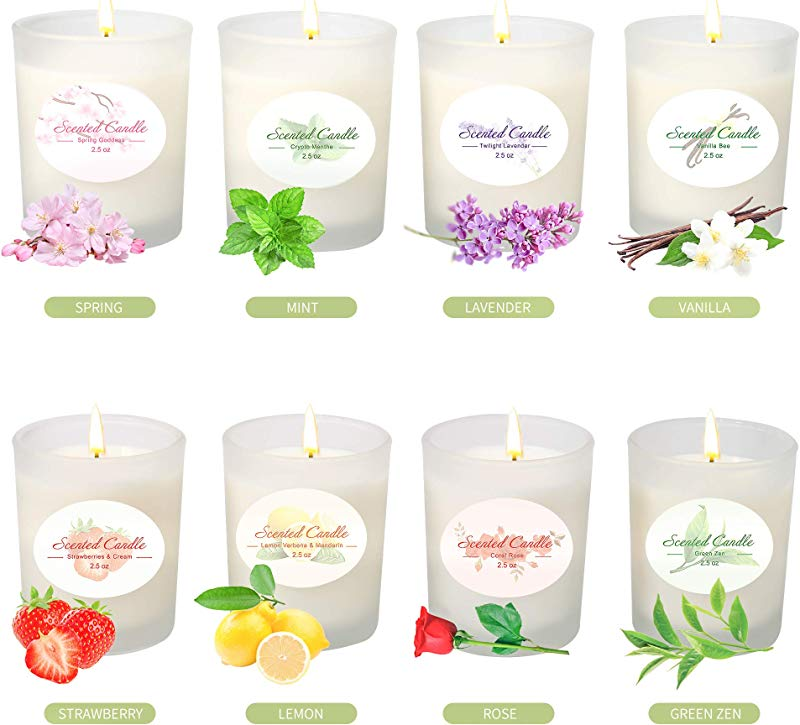 YMING Scented Candles Set Of 8 Natural Soy Wax Frosted Glass Aromatherapy Candle Gifts For Women Anniversary Birthday