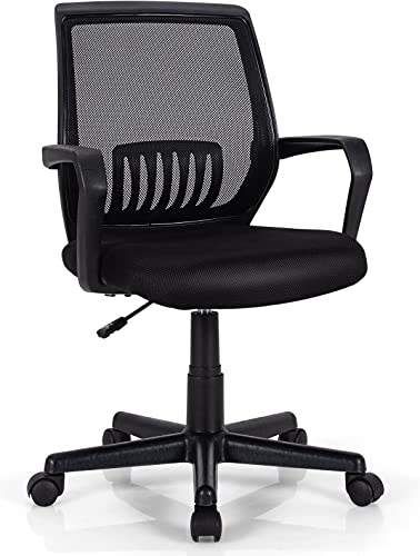 new arrival Giantex Mesh Office Chair, online sale Mid Back Computer Desk wholesale Chair, Ergonomic Executive Chair, Lumbar Support Cushioned Seat, Rolling Swivel Armchair, Adjustable Height, Home Office Task Chair (1) online sale