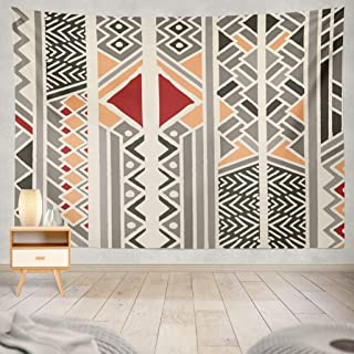 ASOCO Tapestry Wall Handing Tribal Ethnic Colorful Bohemian Pattern with Geometric Elements African Mud Cloth Tribal Design Wall Tapestry for Bedroom Living Room Tablecloth Dorm 60X80 Inches