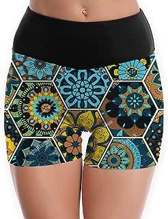 Compression Shorts Luxury Hexagonal Boho Blue High Waist Yoga Shorts Ultra Bike Shorts