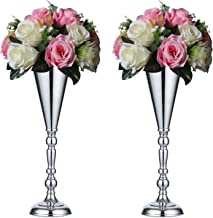 Sziqiqi Set of 2 Tall Metal Wedding Centerpieces for Reception Tables, Silver Flower Vase Stand, Base Decortion for Party, Events, Birthday, Celebration Ceremonies, L × 2