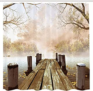 BROSHAN Polyester Shower Curtain Wooden Bridge, Fall Foggy Trees Lake River Country Scene Bathroom Decor Nature Fabric Waterproof Shower Curtain with Hooks, Brown Beige Yellow Kahaki