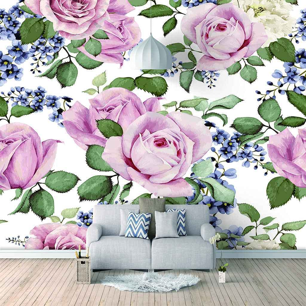 HWCUHL Very popular 3D Wall Stickers Mural Wallpaper Fashion Murals Pink Max 68% OFF Rose