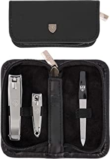 3 Swords Germany - brand quality 3 piece manicure pedicure grooming kit set for professional finger & toe nail care tool clipper fashion leather case in gift box, Made by 3 Swords (762)