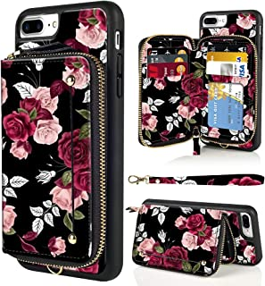 LAMEEKU Wallet Case for iPhone 7 Plus 8 Plus, Flower Pattern Design Zipper Leather Case with Credit Card Holder Slot Wrist Strap, Protective Cover Case for iPhone 7 Plus/8 Plus 5.5'-Rose Flower