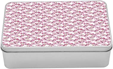 Ambesonne Pink Floral Metal Box, Feminine Botanical Pattern Blossoming Flowers, Multi-Purpose Rectangular Tin Box Container w