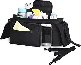 HOPAI Baby Stroller Bag Baby Stroller Organizer Bag with Deep Cup Holder Stroller Storage Bag with Detachable Phone Bag & Shoulder Strap Easy Installation for Universal Strollers