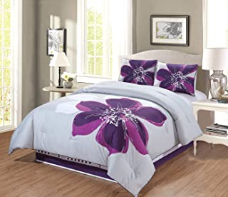 GrandLinen 4 - Piece Grey, Purple, Dark Purple Floral Comforter Set (Double) Full Size Bedding