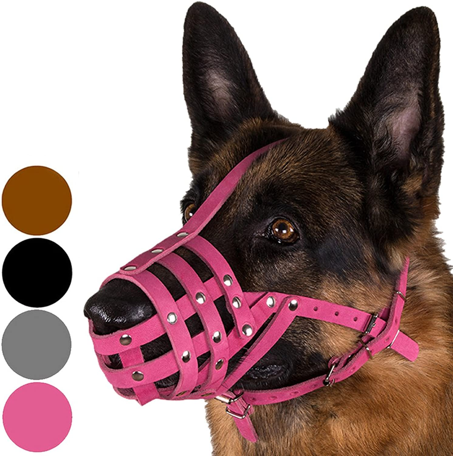 CollarDirect Dog Muzzle German Shepherd Dalmazian Doberman Setter Leather Basket Medium Large Breeds Black Brown Pink Grey (M, Pink)