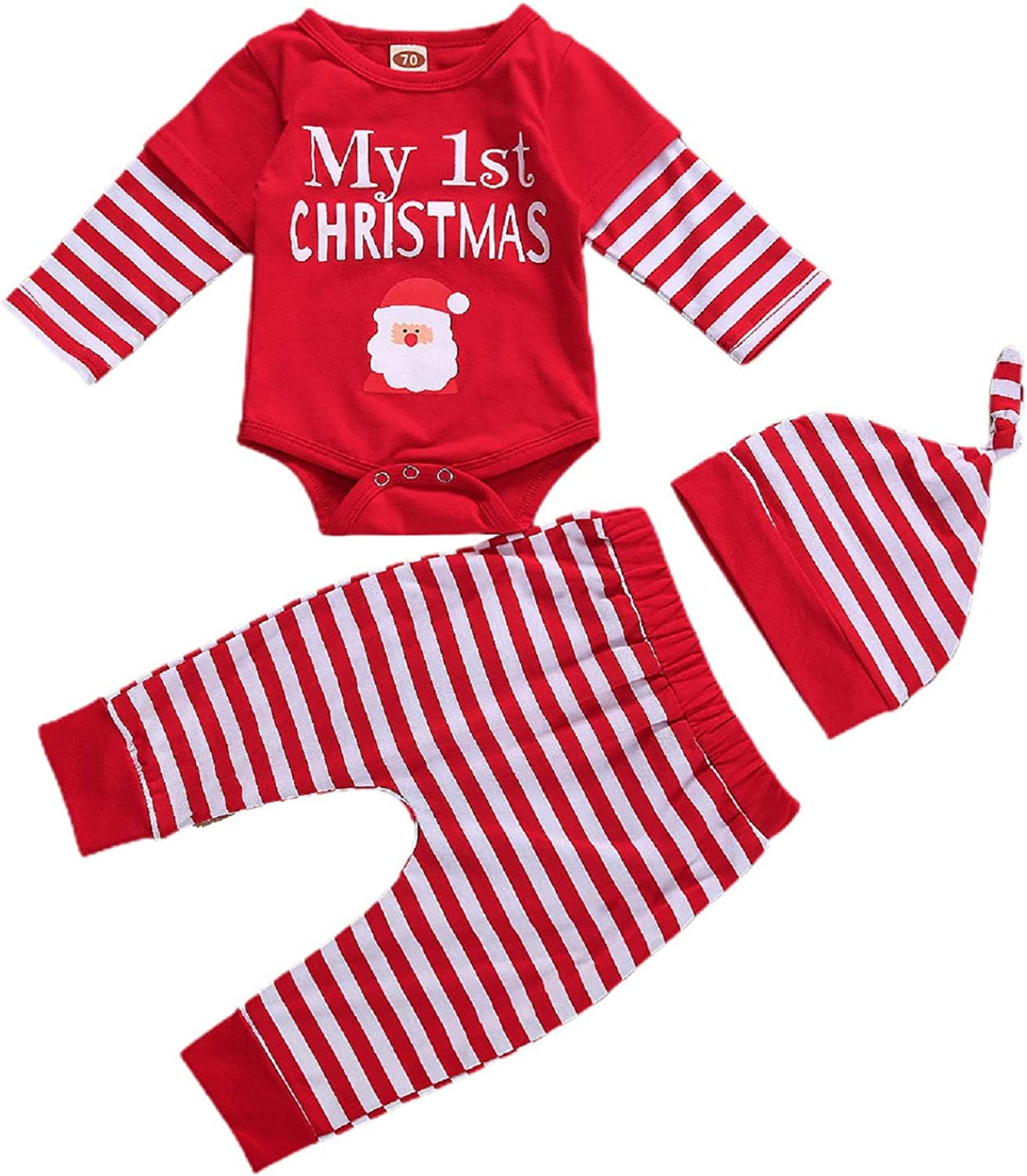 My 1st Christmas Outfit Newborn Baby Boy Girl Long Sleeve Romper + Plaid/Stripe Pants Hat 3PCS Fall Winter Outfits Set