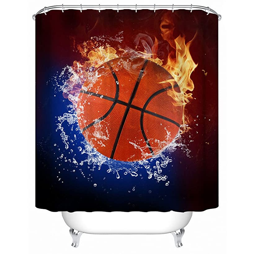ZBLX Football-Basketball-Baseball Shower Curtain, Waterproof Polyester Fabric Shower Curtain for Your Bathroom (72