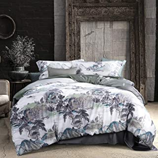 MILDLY Bedding Duvet Cover Sets Queen Size, 100% Egyptian Cotton Duvet Cover with Zipper Closure and 2 Pillow Shams, Forest Theme with Trees and Mountains Surrounding,Vincent