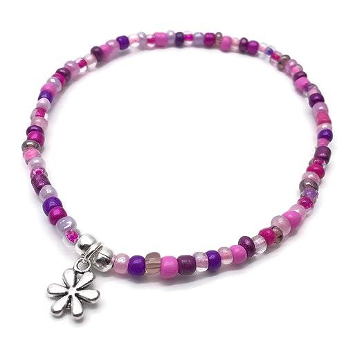 ADORABLE Pink Crystal Beads Ladybug Flower Shoe Charm Stretch Anklet