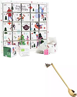 English Tea Shop 2021 Organic White Ornaments Advent Calendar Puzzle - 25 Loose Leaf Tea Pyramid Bags - 13 Different Flavo...