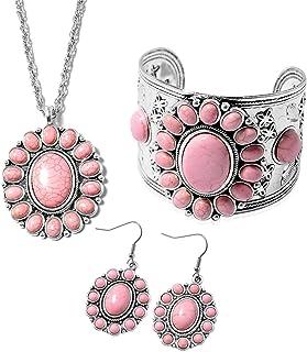 الفولاذ المقاوم للصدأ Silvertone بيضاوي الوردي زهرة هاوليت بيان الكفة أقراط قلادة مجموعة مجوهرات للنساء هدية