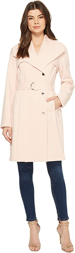 Calvin Klein Double Weave Belted Wing Collar Wrap