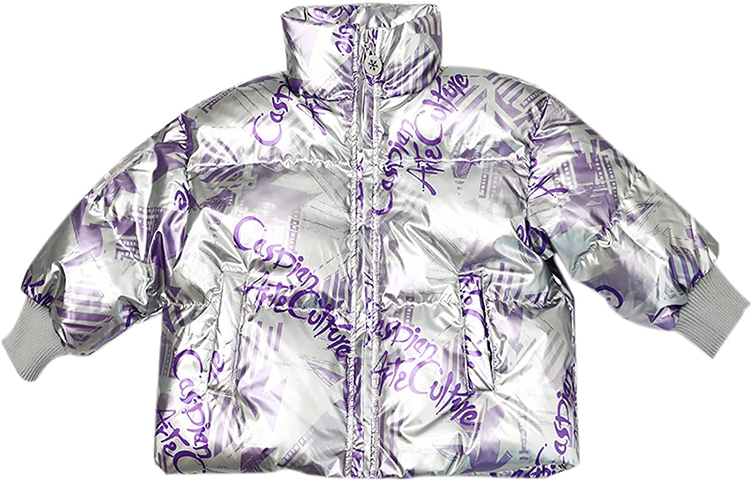 Snhpk Girls Duck Down Coat Padded Thicken Parka Fur Quilted Hooded Warm Winter Outwear Puffer Jacket for 100 to 150Cm