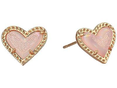 Kendra Scott Ari Heart Stud Earrings (Rose Gold/Pink Drusy) Earring