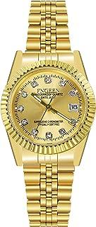Orologio Calendario da Donna Dorato Orologio da Polso Strass Cinturino in Acciaio Elegante Oro Item Name (aka Title)