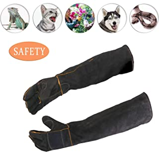 ATROPOS 23.6inch Animal Handling Gloves-thickened cowhide Anti-bite/scratch Gloves Protection Gloves, Feed Gloves for Dog Cat Bird Snake Parrot Lizard Wild Animals