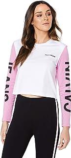 Calvin Klein Jeans Women's Institutional Back Logo Blocking Crop T Shirt, Bright White/Begonia Pink/Black, L